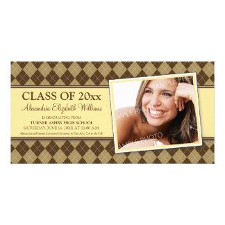 Preppy Argyle Graduation Announcement (yellow) Personalized Photo Card