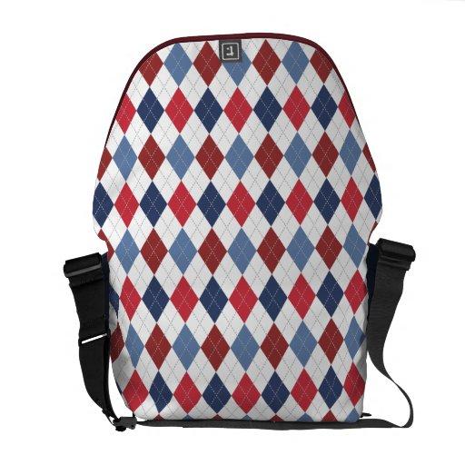 Preppy Argyle Patriotic USA Red White Blue Commuter Bag