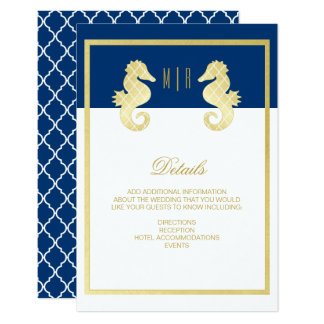 Preppy Beach Seahorse Navy Gold Wedding Details Card