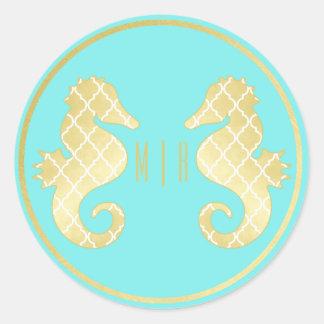 Preppy Beach Seahorse Turquoise Gold Wedding Round Sticker