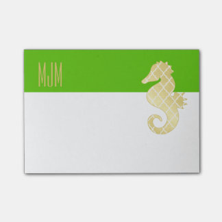 Preppy Beach Tropical Seahorse Green Post-it® Notes