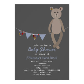 Preppy Bear Plaid Bunting Baby Shower Invitation