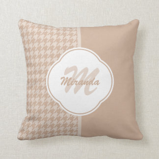 Preppy Beige and Tan Houndstooth Monogram and Name Cushion