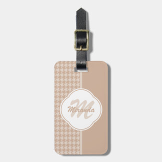Preppy Beige and Tan Houndstooth Monogram and Name Luggage Tag