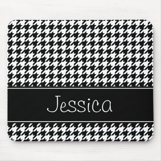 Preppy Black and White Houndstooth Personalised Mouse Mat