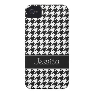 Preppy Black and White Houndstooth Personalized Case-Mate iPhone 4 Case