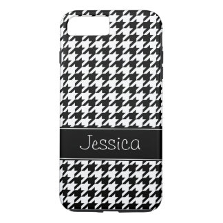 Preppy Black and White Houndstooth Personalized iPhone 8 Plus/7 Plus Case