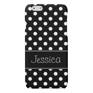 Preppy Black and White Polka Dots Personalized iPhone 6 Plus Case