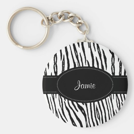 Preppy Black and White Tiger Stripes With Name Basic Round Button Key Ring
