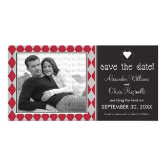 Preppy Black Argyle Save the Date Announcement Personalised Photo Card