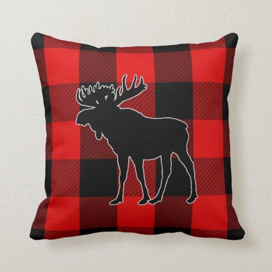 Preppy Black Red Buffalo Check | Moose Cushion