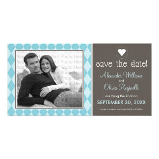 Preppy Blue Argyle Save the Date Announcement Card