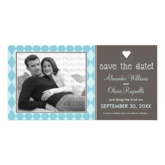Preppy Blue Argyle Save the Date Announcement Card