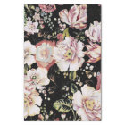 Preppy bohemian country girly chic black floral tissue paper