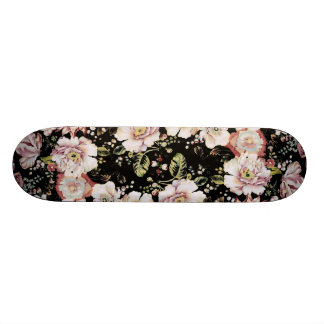 Preppy bohemian country shabby chic black floral 21.3 cm mini skateboard deck