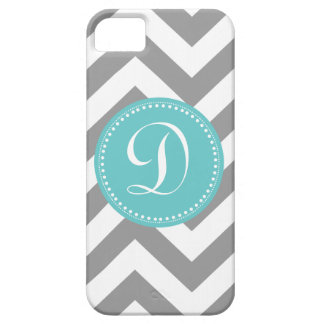 Preppy Bold Chevron Gray and Turquoise Monogram iPhone 5 Cover