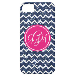 Preppy Chevron in Navy Glitter iPhone 5 Case