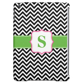 Preppy Chevron Pink Green Black Monogram