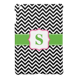 Preppy Chevron Pink Green Black Monogram Cover For The iPad Mini