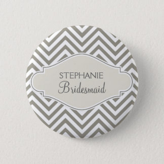 Preppy Chevron Stripe Modern Monogrammed Name 6 Cm Round Badge