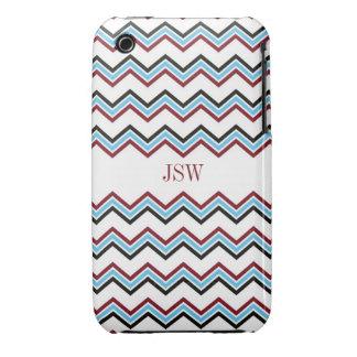 Preppy chevron zigzag blue red pattern monogram Case-Mate iPhone 3 cases