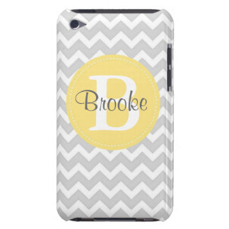 Preppy Chic Chevron Gray and Yellow iPod Case