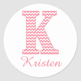 Preppy Classic Pink Chevon Letter K Monogram Classic Round Sticker