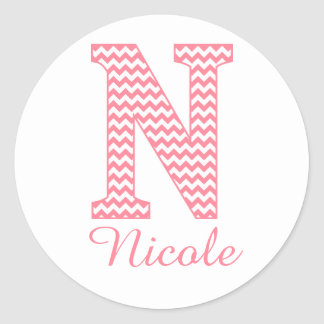 Preppy Classic Pink Chevon Letter N Monogram Round Sticker