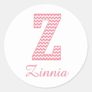 Preppy Classic Pink Chevon Letter Z Monogram Classic Round Sticker