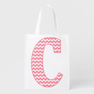 Preppy Classic Pink Chevron Letter C Monogram Reusable Grocery Bag