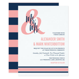 Preppy Coral & Navy Mr & Mr Wedding Card