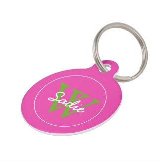 Preppy Diva Pink and Green Apple Monogram Pet Tag