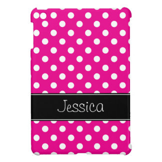 Preppy Fuchsia and Black Polka Dots Personalized Cover For The iPad Mini