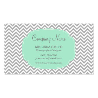 Preppy Gray Mint Chevron Pack Of Standard Business Cards