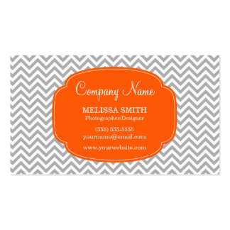 Preppy Gray Orange Chevron Pattern Business Cards