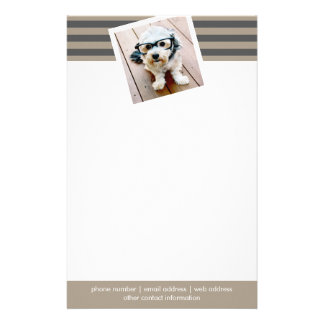 Preppy Gray Striped Pattern Custom Name and Photo Stationery Design