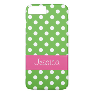 Preppy Green and Pink Polka Dots Personalized iPhone 7 Plus Case
