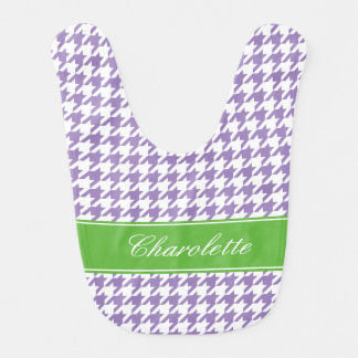 Preppy Green and Purple Houndstooth Personalized Bib