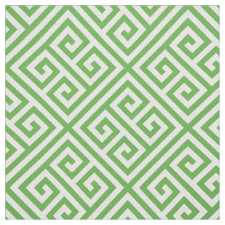 Preppy Green Greek Key Pattern Fabric