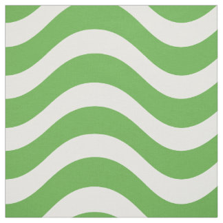 Preppy Green Nautical Wave Pattern Fabric