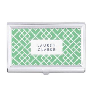 Preppy Green & White Bamboo Lattice Pattern Business Card Holder