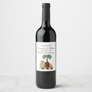 Preppy Heraldic Camel Palm Tree Color Coat of Arms Wine Label