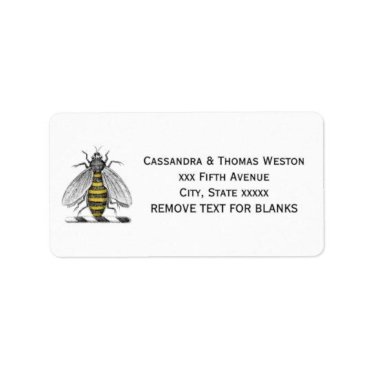 Preppy Heraldic Vintage Bee Coat of Arms Emblem C Label