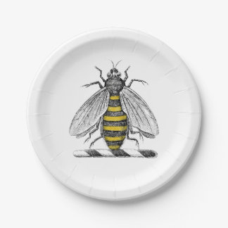 Preppy Heraldic Vintage Bee Coat of Arms Emblem C Paper Plate