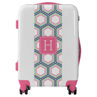 Preppy Hexagons Pattern and Monogram Luggage