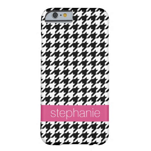 Preppy Houndstooth Pattern - Black and Hot Pink iPhone 6 Case