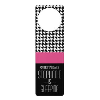 Preppy Houndstooth Pattern - Black and Hot Pink Door Hanger