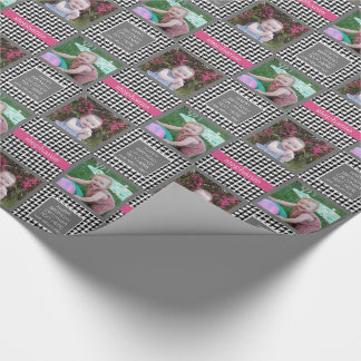 Preppy Houndstooth Pattern - Black and Hot Pink Wrapping Paper