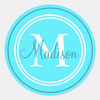 Preppy Initial Monogram And Name Classic Round Sticker