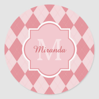 Preppy Light Pink Argyle Girly Monogram Party Name Classic Round Sticker